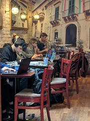 Cafe and laptops
