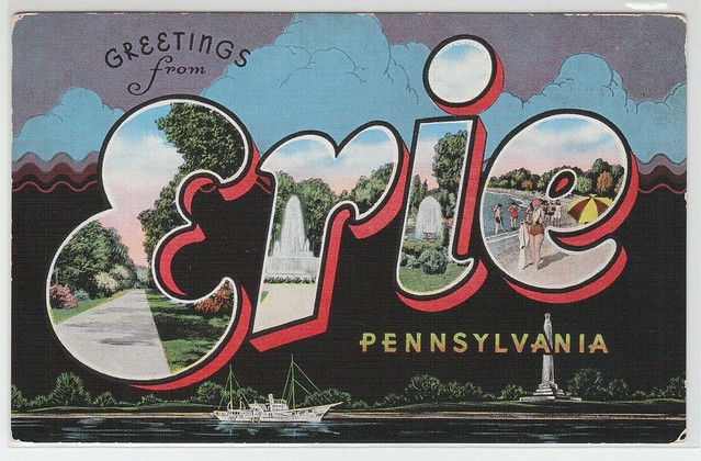 66350-OLD-LARGE-LETTER-POSTCARD-GREETINGS-from-ERIE