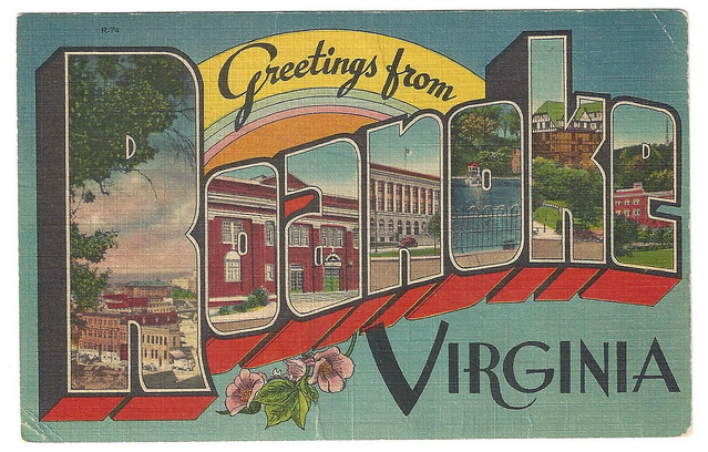 1940s-ROANOKE-VA-Large-Letter-Linen-Virginia-Greetings