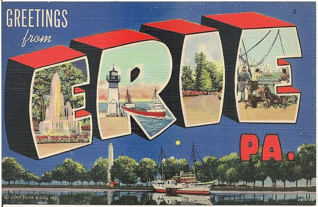 Greetings-From-Erie-PA-Large-Letter-Linen-Postcard