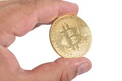 Golden Bitcoin in the hand above white background