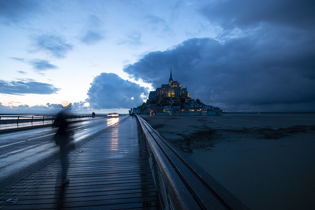 walking to Mont Saint Michel as evening turns to night, Manche, Normandie, France. fine art long exposure
