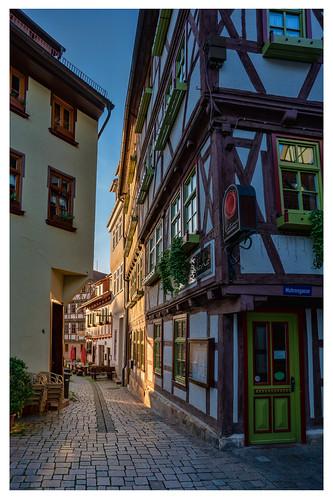Letzte Sonnenstrahlen in der Schmalkalder Altstadt.