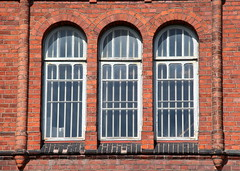 The windowpanes of The old magazinebuilding.