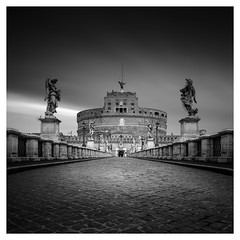 Image by vulture labs (38181284@N06) and image name Ponte Sant'Angelo photo  about www.vulturelabs.photography BW long exposure fine art photography workshops