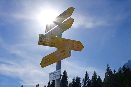 Signpost in a paradise for hikers and climbers