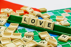 """Love"" word on scrabble"