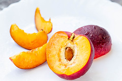Nectarine fruit on the white background