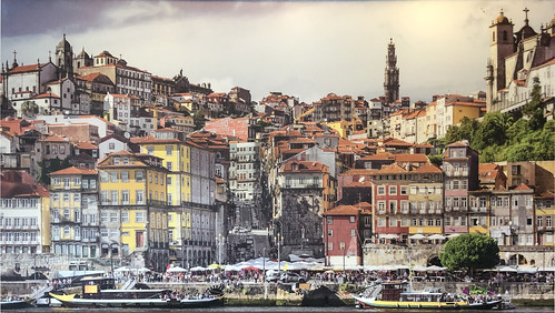 Painting of Ribeira District in Porto