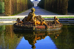 Perfect reflection in the Flora basin, Versailles gardens, Paris - Photo of Châteaufort