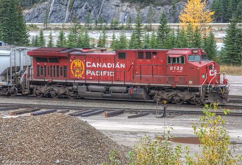 A Canadian Pacific Railway Locomotive in the Village of Field, British Columbia Canada