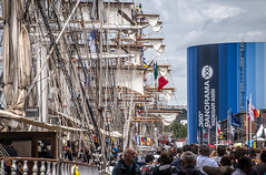 sails, rigging, crowds along the Seine River - its the Rouen Armada (Tall ships), Rouen, Seine-Maritime, Normandie, France