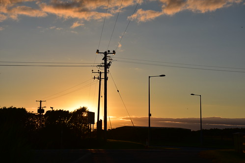 Power lines & Street lamps at sunset