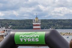 Werbung der finnischen Unternehmensgruppe und Sponsor Nokian Tyres beim Ironman 70.3, am Hafen von in Lahti