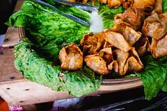Close up of deep fried beef siomai