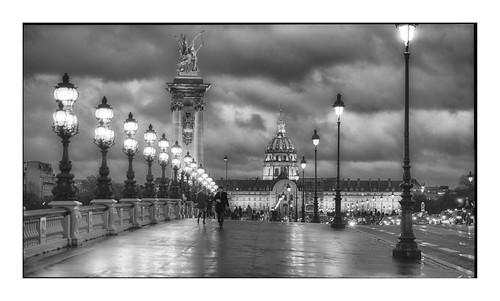Pont Alexandre III on a rainy evening