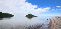 SPIRIT ISLAND, DRIFTWOOD BEACH, LAKE SUPERIOR, ON CANADA NEAR MICHIPICOTEN FIRST NATION, MICHIPICOTEN RIVER VILLAGE and WAWA ON CANADA, ACA PHOTO
