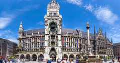Panoramic view of Marienplatz with rainbow flags, shows solidarity with LGBTQ-Community during Christopher Street Day demonstration