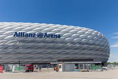 Nahaufnahme des Fußballstadions Allianz Arena, nach dem Umbau, ist ein architektonisches Meisterwerk und Wahrzeichen von München