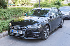 Expensive luxury car Audi S6 in black, parked in the streets of Munich