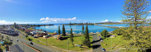John Wright Park, Cape Hawke Harbour and Wallis Lake Bridge from Sunrise Apartments, Tuncurry, NSW