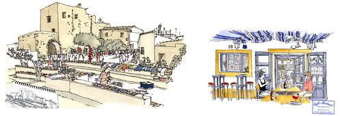 Formentera: Sant Francesc Xavier, església, mercadet i Cafè Matinal.
