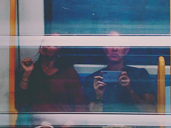 metro, man, woman, window