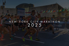 Fast runners start the tiny marathon Dash to the Finish Line 5K with the picture title New York City Marathon 2025