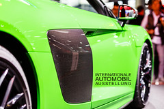 "Green Audi R8 V10 plus with carbon door at IAA with picture title ""Internationale Automobil Ausstellung"""