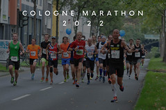 Large group of marathon participants with balloons running the Cologne Marathon 2022