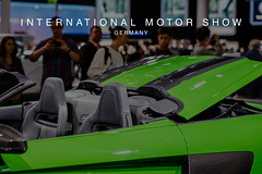 Car fans around a Audi R8 V10 plus cabriolet, taking pictures at the International Motor Show Germany IAA