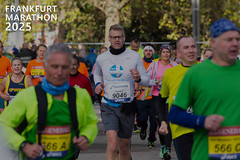 Athletes and runners listening to music, next to picture title Frankfurt Marathon 2025