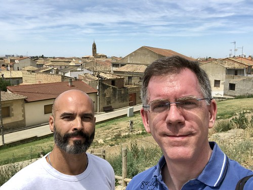 Alejandro and Paul, town view from castle grounds, Sádaba, Spain