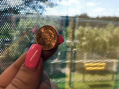 UK copper penny coin stock photo