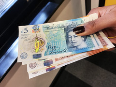 New style sterling £10 and £5 note stock photo
