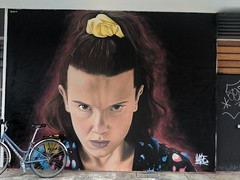 Millie Bobby Brown as Eleven in Stranger things: Mural by @Akse_p19