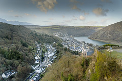 Bingen am Rhein town aerial panoramic view