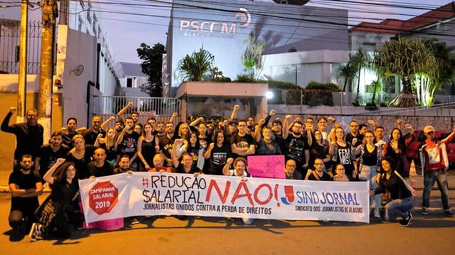 Jornalistas de Alagoas fazem manifestação durante o movimento grevista - Créditos: Jonathan Lins