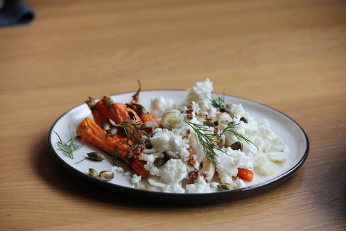 Carrot, fennel and feta salad side view