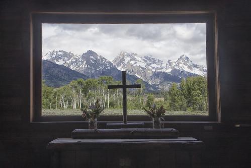 View Through Window, Chapel of the Transfiguration - Grand Teton National Park 7I4A3914
