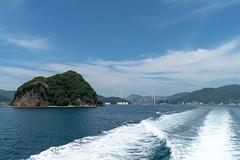 Island and suspension bridge