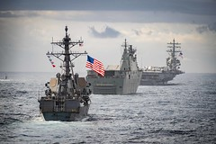 USS McCampbell is underway in formation with other 4 ships during Talisman Sabre 2019.