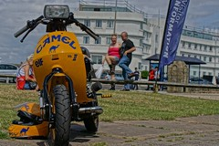 Lambretta cutdown in front of the Midland Hotel, Morecambe Scooter Rally 2019