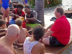 Fiji. Denarau Island.  Kava making and drinking ceremony for guests at the Sofitel resort hotel.