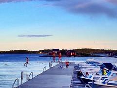 Evening swim and sunset. Hvaler. Norway