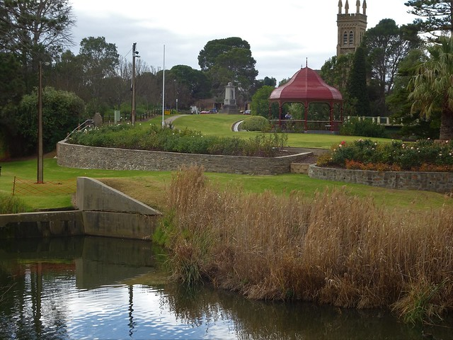 Photo:Strathalbyn established in 1839.  Reflections in the Angas River with the Rotunda and spires of St Andrews Presbyterian Church in the distance. By denisbin