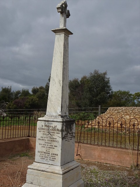 Photo:Strathalbyn cemetery. The headstone of Gemmel Rankine. The Rankine brothers were founders of Strathalbyn in 1839. There is a settlement outside the town called Gemmels. By denisbin