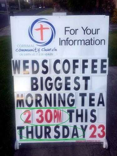 Church sign, East Corrimal