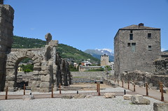 The Roman Theatre, built during the Julio-Claudian era a few decades after the city's foundations, Augusta Praetoria Salassorum, Aosta, Italy