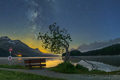 The blue hour Milky Way at Lake Sils